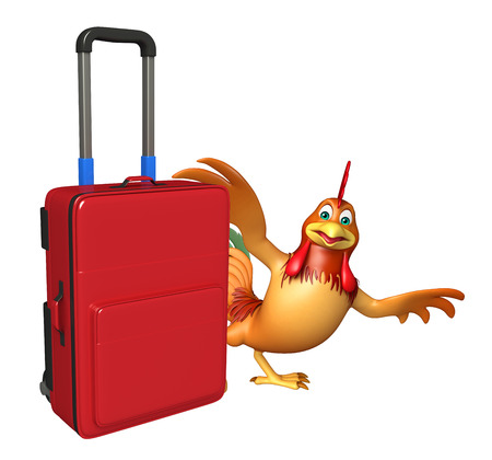 3d rendered illustration of Chicken cartoon character with travel bag