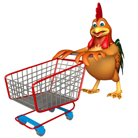 trolly: 3d rendered illustration of Chicken cartoon character  with trolly