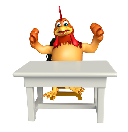toonimal: 3d rendered illustration of Chicken cartoon character with table and chair