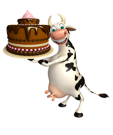 savoury: 3d rendered illustration of Cow cartoon character with cake