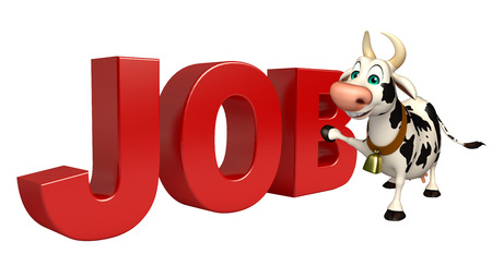 job hunting: 3d rendered illustration of Cow cartoon character with job sign