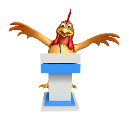 3d chicken: 3d rendered illustration of Chicken cartoon character with speech stage
