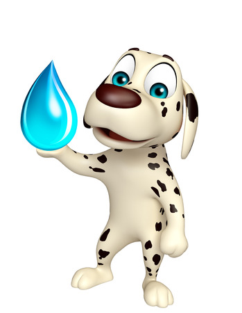 ear drop: 3d rendered illustration of Dog cartoon character  with water drop Stock Photo
