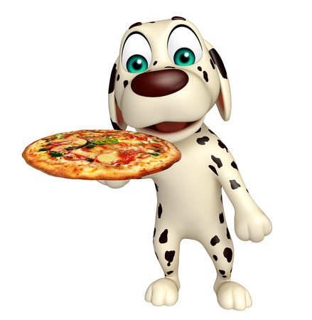 directly: 3d rendered illustration of Dog cartoon character  with pizza