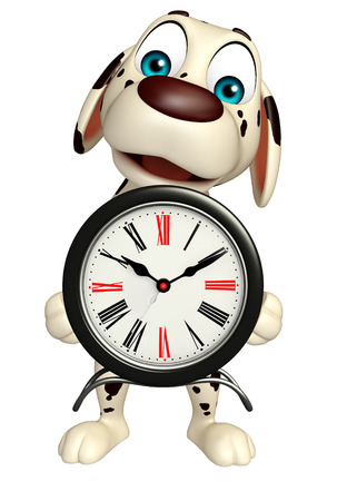 3d rendered illustration of Dog cartoon character  with clock
