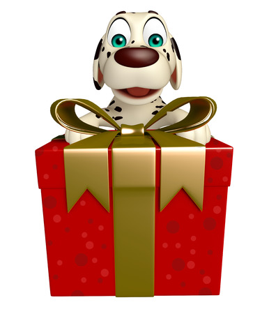 dog gift: 3d rendered illustration of Dog cartoon character  with gift box Stock Photo