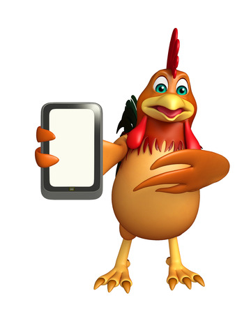 3d chicken: 3d rendered illustration of Chicken cartoon character with mobile