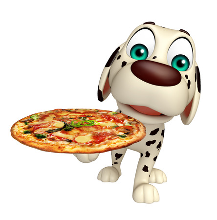 3d pizza: 3d rendered illustration of Dog cartoon character  with pizza