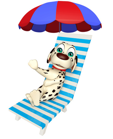 3d rendered illustration of Dog cartoon character with beach chair Stock Photo
