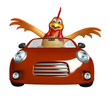 3d rendered illustration of Chicken cartoon character with car