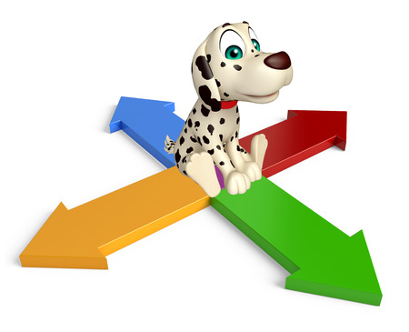 four friends: 3d rendered illustration of Dog cartoon character  with arrow sign