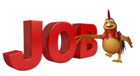 toonimal: 3d rendered illustration of Chicken cartoon character with job sign