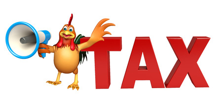 obligation: 3d rendered illustration of Chicken cartoon character  with loudspeaker and tax sign