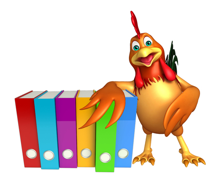 3d chicken: 3d rendered illustration of Chicken cartoon character with files