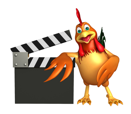 3d chicken: 3d rendered illustration of Chicken cartoon character with clapper board