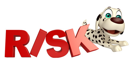 risky: 3d rendered illustration of Dog cartoon character  with risk sign Stock Photo