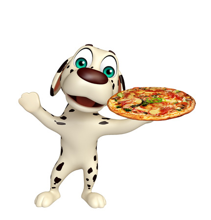 mozzarella cheese: 3d rendered illustration of Dog cartoon character  with pizza