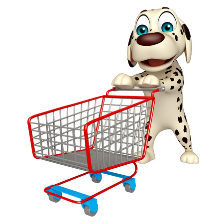 trolly: 3d rendered illustration of Dog cartoon character  with trolly
