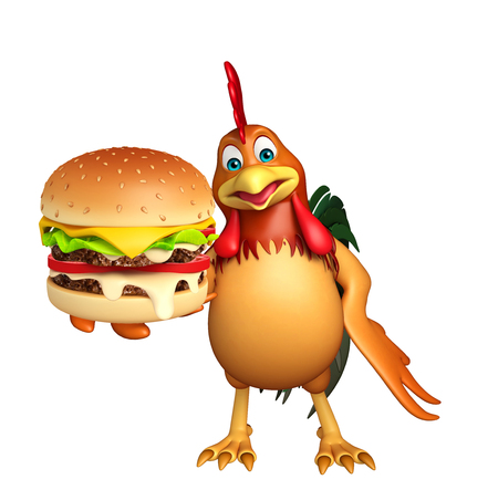3d chicken: 3d rendered illustration of Chicken cartoon character with burger Stock Photo