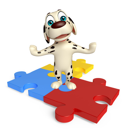 jigsaw set: 3d rendered illustration of Dog cartoon character  with puzzle