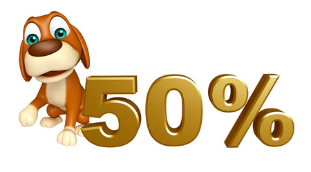 50: 3d rendered illustration of Dog cartoon character  with 50% sign Stock Photo