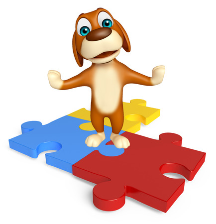 jig saw puzzle: 3d rendered illustration of Dog cartoon character  with puzzle