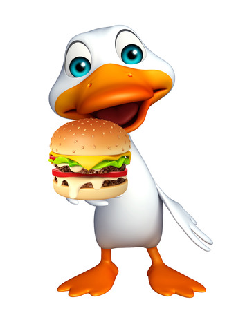 bacon and eggs: 3d rendered illustration of Duck cartoon character with burger