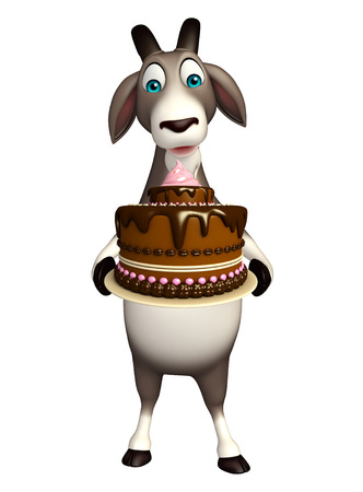 fudge: 3d rendered illustration of Goat cartoon character with cake Stock Photo