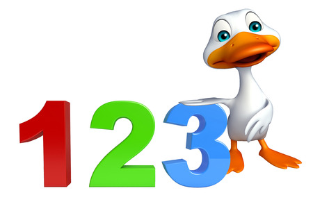 toonimal: 3d rendered illustration of Duck cartoon character with 123 sign Stock Photo