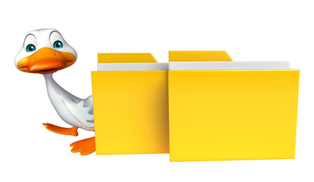 toonimal: 3d rendered illustration of Duck cartoon character with folder
