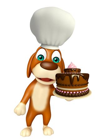 tortas de cumpleaños: 3d rindió la ilustración de personaje de dibujos animados de perro con el sombrero del cocinero y la torta Foto de archivo