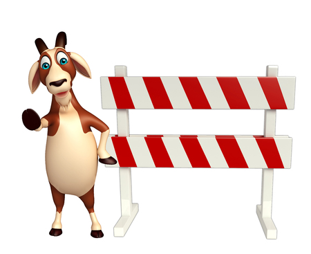 road traffic: 3d rendered illustration of Goat cartoon character with baracades