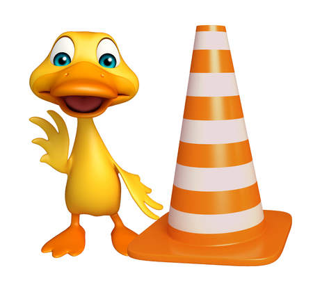 construction vehicle: 3d rendered illustration of Duck cartoon character with construction cone Stock Photo