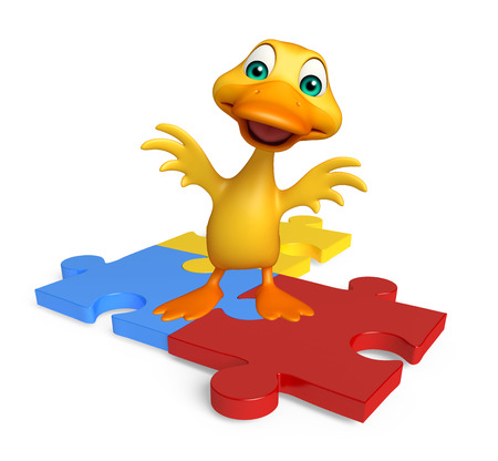 jig saw puzzle: 3d rendered illustration of Duck cartoon character with puzzle