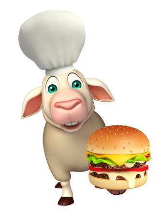 シェフの帽子とハンバーガーと羊の漫画のキャラクターの 3 d レンダリングされたイラストレーション