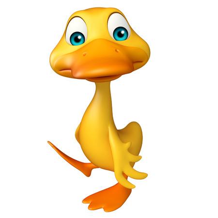 pato caricatura: 3d rindió la ilustración de personaje de dibujos animados divertido del pato