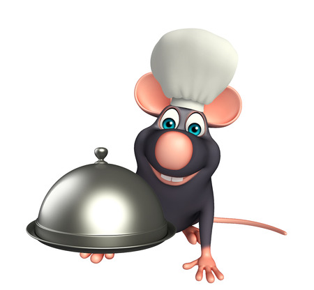 3d rendered illustration of Rat cartoon character with chef hat and cloche Фото со стока