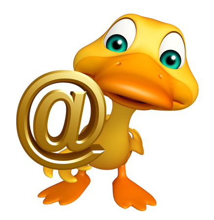 toonimal: 3d rendered illustration of Duck cartoon character with at the rate sign