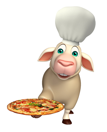 3d pizza: 3d rendered illustration of Sheep cartoon character with chef hat and pizza Stock Photo