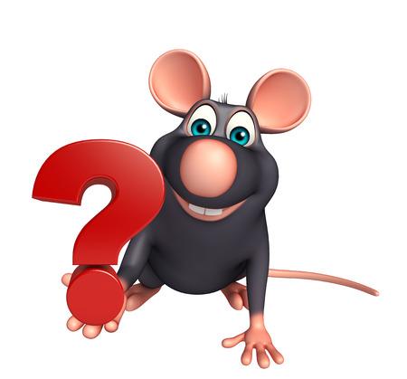 rata caricatura: 3d rindió la ilustración de personaje de dibujos animados Rata con la muestra del signo de interrogación