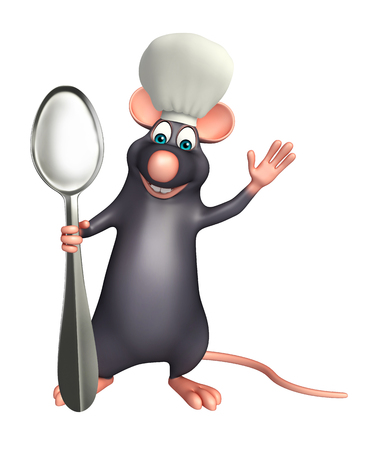rata caricatura: 3d rindi� la ilustraci�n de personaje de dibujos animados Rata con el sombrero del cocinero y cucharas