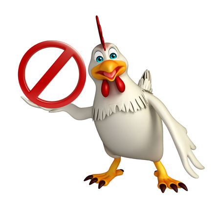 drive ticket: 3d rendered illustration of Hen cartoon character  with stop sign