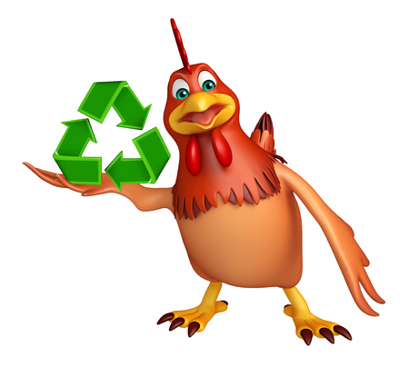 toonimal: 3d rendered illustration of Hen cartoon character  with recycle sign Stock Photo