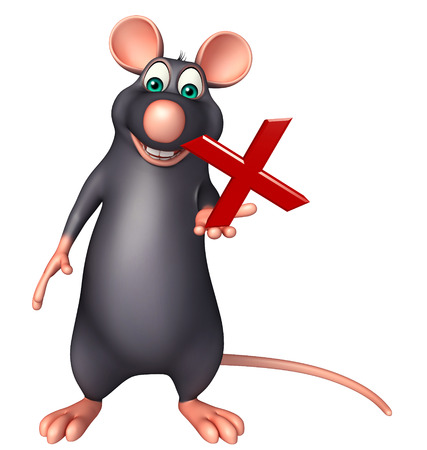 3d rendered illustration of Rat cartoon character with wrong sign
