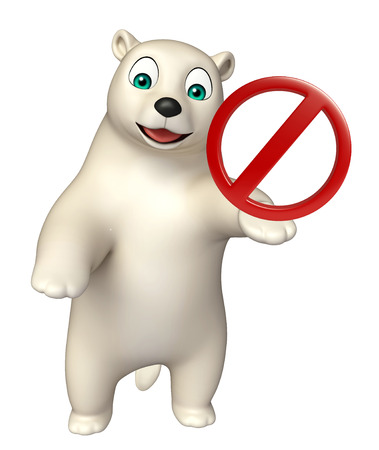 zoo traffic: 3d rendered illustration of Bear cartoon character with stop sign