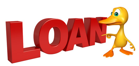 toonimal: 3d rendered illustration of Duck cartoon character with loan sign Stock Photo