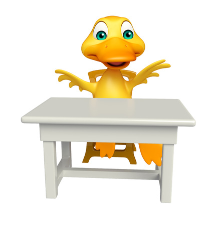 tabletop: 3d rendered illustration of Duck cartoon character with table and chair