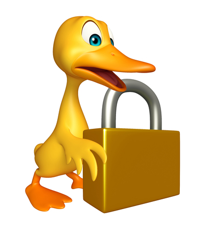 toonimal: 3d rendered illustration of Duck cartoon character with lock Stock Photo