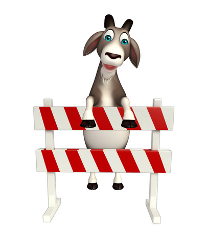 security lights: 3d rendered illustration of Goat cartoon character with baracades