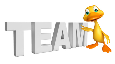 collectives: 3d rendered illustration of Duck cartoon character with team sign Stock Photo